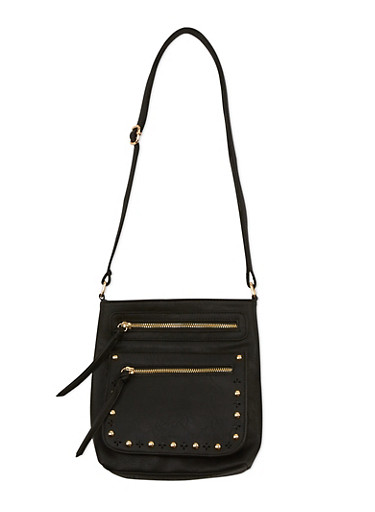 Faux Leather Studded Crossbody Bag,BLACK,large
