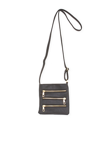 Crossbody Bag with Zipper Accents,BLACK,large