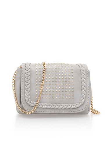 Faux Leather Crossbody Bag with Studded Detailing,GRAY/GOLD,large