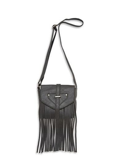 Faux Leather Crossbody Bag with Fringe Detailing,BLACK,large