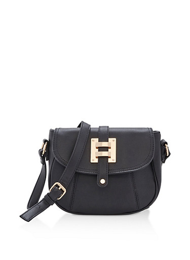 Faux Leather Saddlebag with Metallic Accent,BLACK,large