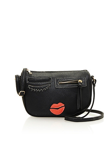 Faux Leather Crossbody Bag with Face Design,BLACK,large