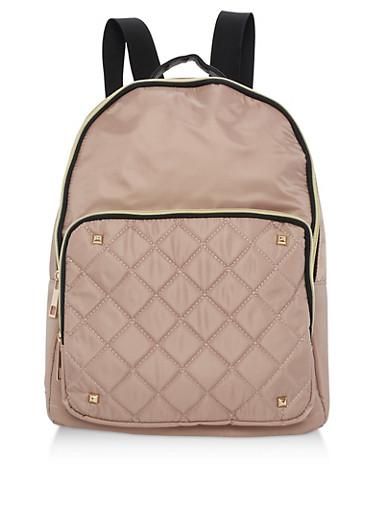 Large Nylon Backpack,BEIGE,large
