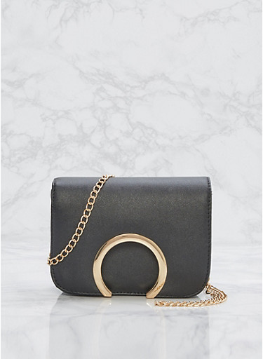 Open Ring Faux Leather Crossbody Bag,BLACK,large