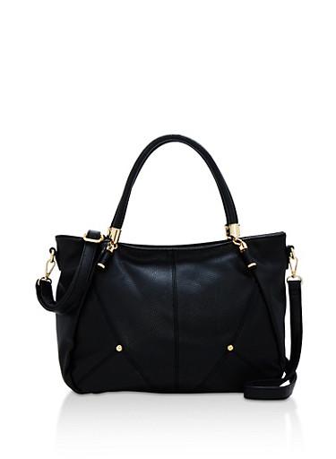 Faux Pebbled Leather Satchel Bag,BLACK,large