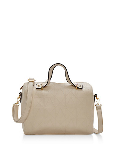 Faux Leather Embossed Satchel with Removable Strap,BONE,large