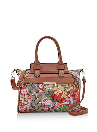 Floral Mixed Print Satchel with Removable Strap,TAN/COGNAC,large