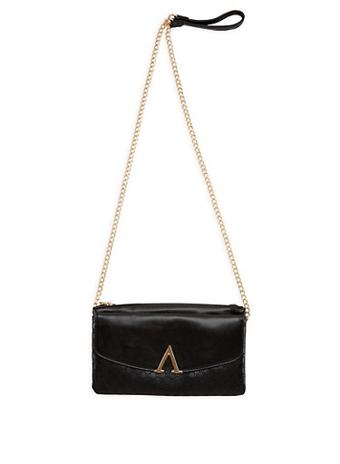 Faux Leather Embossed Crossbody Bag,BLACK,large