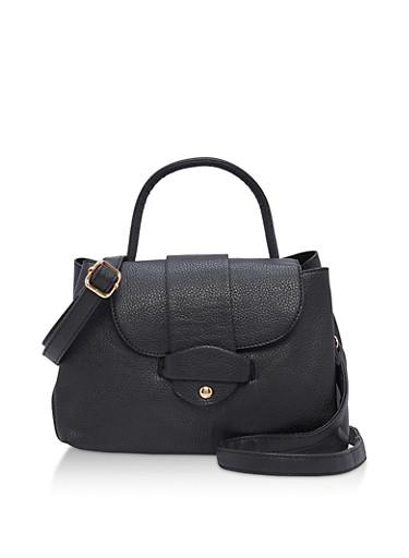 Textured Faux Leather Satchel Bag,BLACK,large