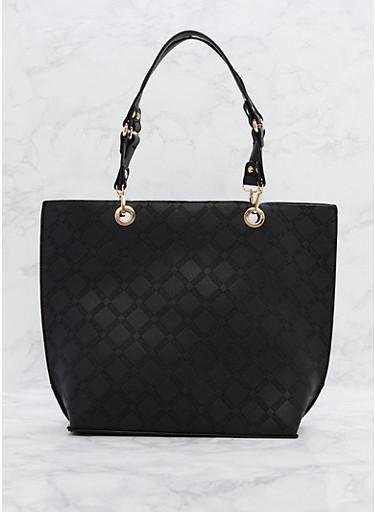 Faux Leather Shopper Tote Bag,BLACK,large