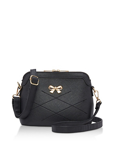 Faux Leather Bow Stitch Crossbody Bag,BLACK,large
