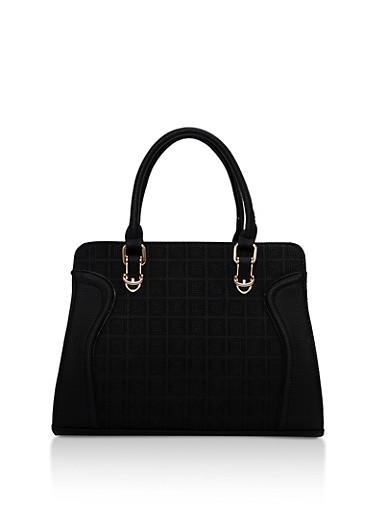 Faux Leather Embossed Satchel Bag,BLACK,large