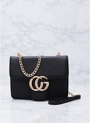 Faux Saffiano Leather Logo Crossbody Bag,BLACK,large