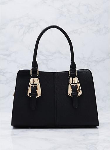 Faux Textured Leather Buckle Satchel Bag,BLACK,large