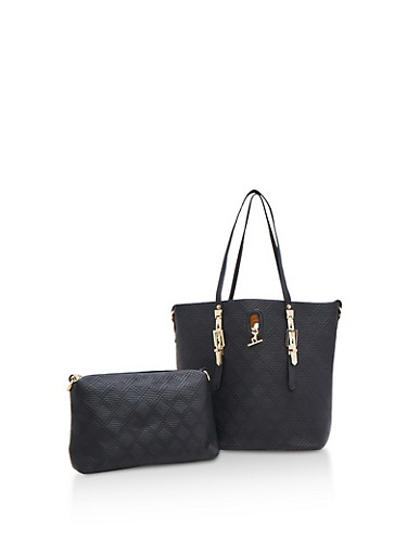 Large 2 Piece Textured Tote Bag,BLACK,large