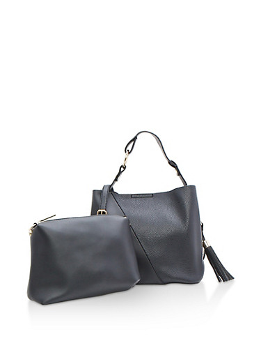 Two Piece Faux Leather Handbag with Tassel,BLACK,large