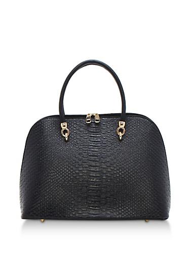 Large Textured Satchel Bag,BLACK,large