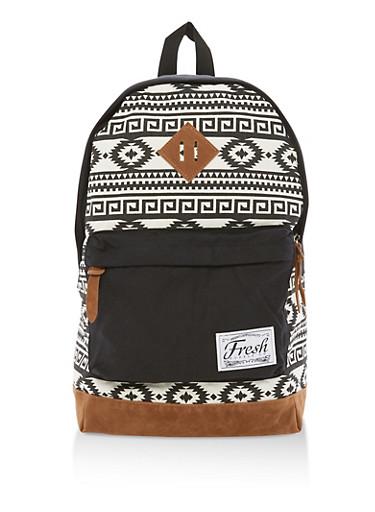 Aztec Print Backpack,BLACK,large