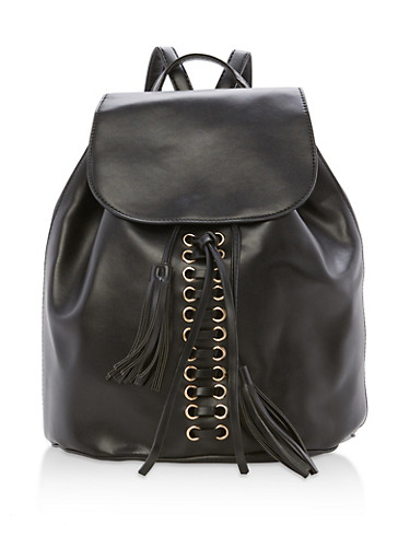 Faux Leather Lace Up Backpack with Tassels,BLACK,large