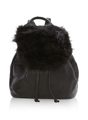 Faux Fur Flap Backpack,BLACK,large