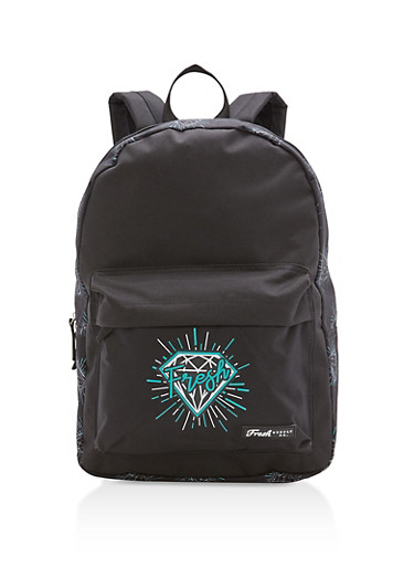 Fresh Diamond Nylon Backpack,BLACK/MINT,large