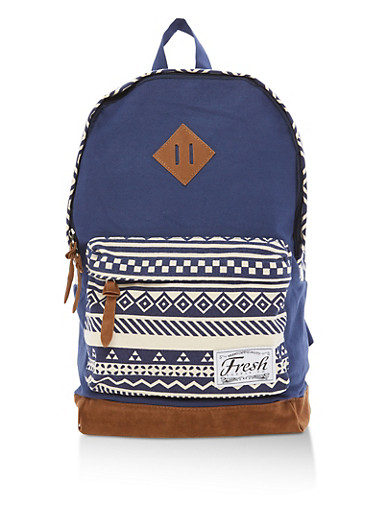 Aztec Print Backpack,NAVY,large