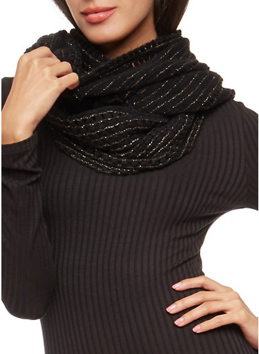 Shimmer Knit Infinity Scarf,BLACK,large