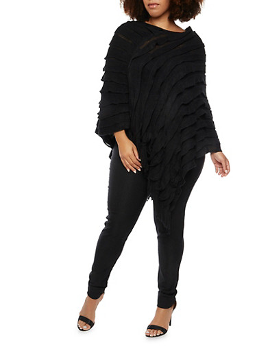 Ruffled Poncho with Fringe,BLACK,large