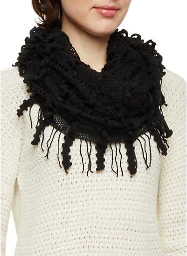 Infinity Scarf with Crochet Fringe,BLACK,large