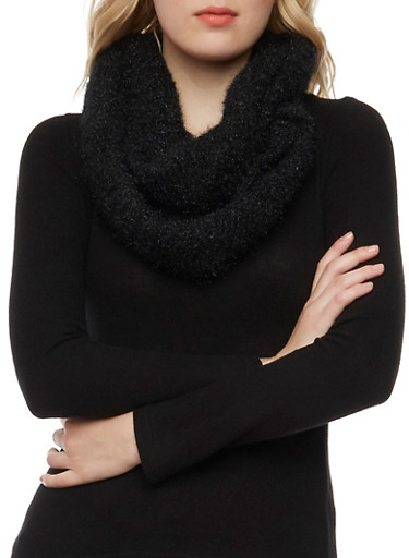 Shimmer Knit Infinity Scarf,BLACK,large
