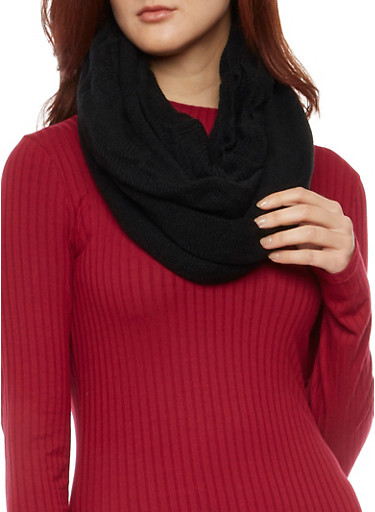 Knit Infinity Scarf,BLACK,large