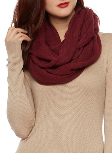Knit Infinity Scarf,BURGUNDY,large