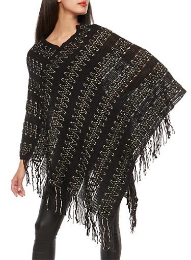 Shimmer Knit Zig Zag Poncho,BLACK,large