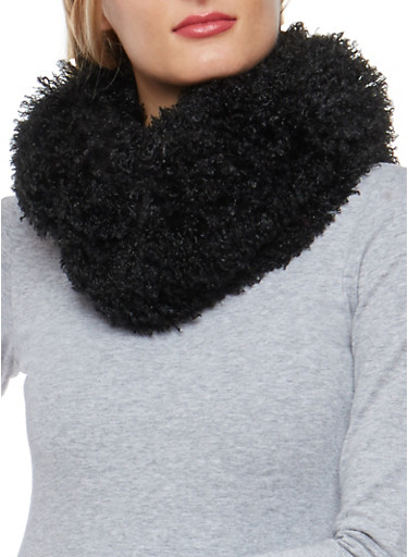 Shaggy Faux Fur Infinity Scarf,BLACK,large