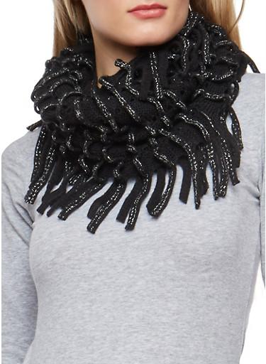 Glitter Knit Looped Fringe Scarf,BLACK,large
