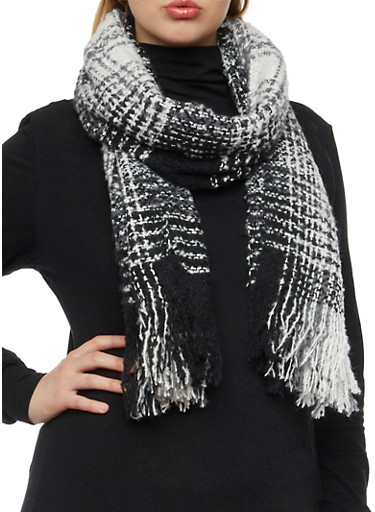 Oversized Knit Scarf in Plaid,BLACK/WHITE,large