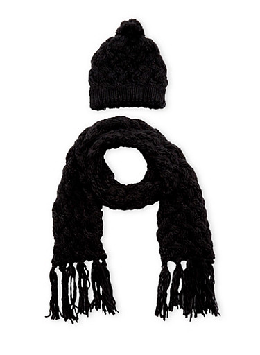 2 Piece Beanie Hat and Scarf Set,BLACK,large