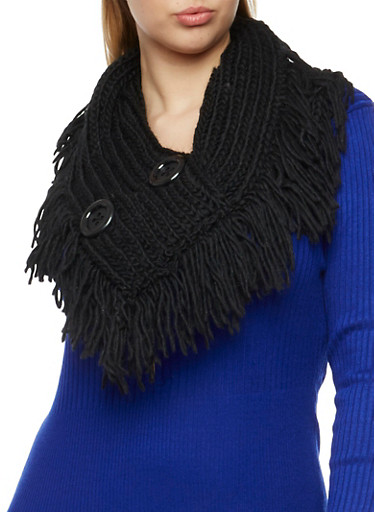 Pull On Scarf with Buttons and Fringe Trim,BLACK,large