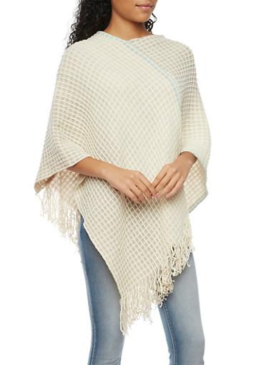 Gauzy Knit Poncho Scarf with Fringe Hem,IVORY,large