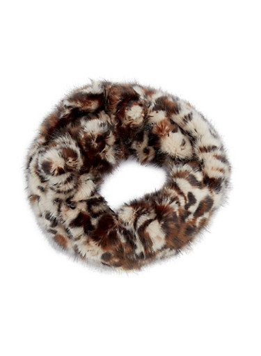 Faux Fur Infinity Scarf,LEOPARD PRINT,large