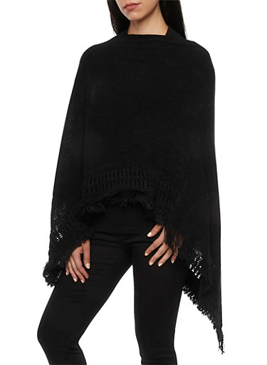 Knit Poncho Scarf with Fringe,BLACK,large