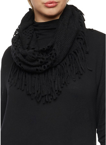 Perforated Infinity Scarf with Fringe,BLACK,large