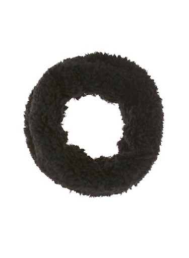 Fuzzy Fleece Infinity Scarf,BLACK,large