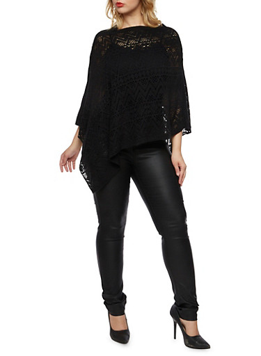 Plus Size Poncho with Open Knit Design,BLACK,large