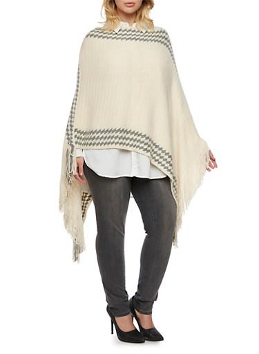 Plus Size Knit Poncho with Geometric Stripes,IVORY/GREY,large