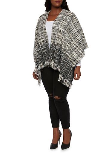 Kimono Scarf with Fringe Ends,BLACK,large
