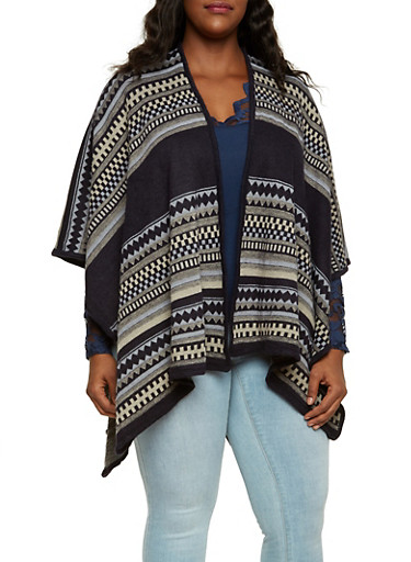 Knit Shawl in Aztec Print,NAVY,large