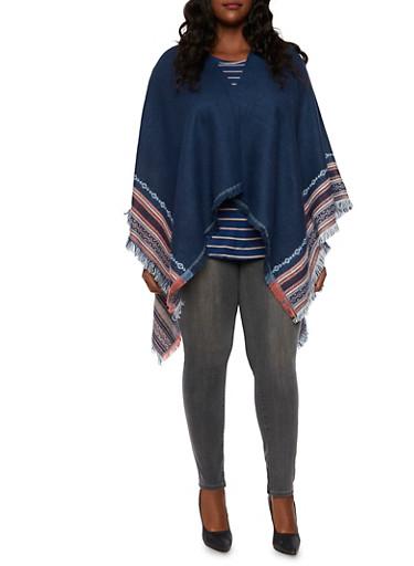 Plus Size Kimono Scarf with Aztec Design,NAVY,large