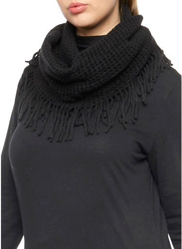 Fringe Infinity Scarf with Square Knit,BLACK,large