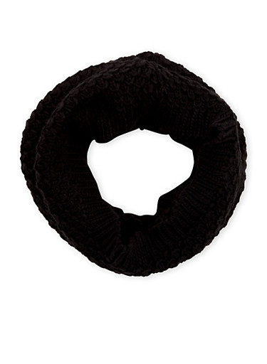 Honeycomb Knit Scarf,BLACK,large